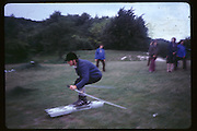 Hubie Gibbs, Park in Paris. Butter de chaumont, Dry skiing, ( the DSC designed skiis which ran on blocks of ice. Ed Hulton bought a gigantic freezer and made 2 sled/skis to run on ice. ) DSC Archive. Do Not use without permission.  Dafydd Jones 66 Stockwell Park Rd. London SW9 0DA Tel 020 7733 0108 www.dafjones.com