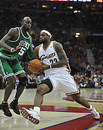 LeBron James drives past Kevin Garnett..The Cleveland Cavaliers defeated the Boston Celtics 108-84 in Game 3 of the Eastern Conference Semi-Finals at Quicken Loans Arena in Cleveland.