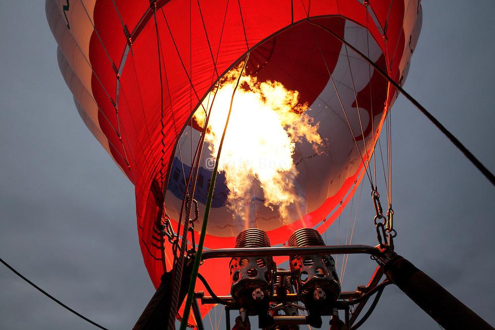intense burning flame of a hot air balloon