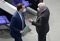 DEU, Deutschland, Germany, Berlin, 28.01.2021: Bundesgesundheitsminister Jens Spahn (CDU) und Bundesinnenminister Horst Seehofer (CSU) in der Plenarsitzung im Deutschen Bundestag.