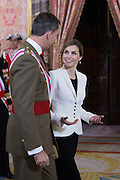 MADRID, SPAIN, 2015, Jan 06<br /> <br />  Kings Felipe and Letizia preside at the Royal Palace of Madrid, the Military Easter, celebrated every year on the day after the birthday of the previous monarch, King Juan Carlos, who turned 78 yesterday<br /> ©Exclusivepix Media