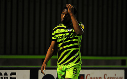 Ebou Adams of Forest Green Rovers cuts a dejected figure after being shown a red card- Mandatory by-line: Nizaam Jones/JMP - 27/02/2021 - FOOTBALL - The innocent New Lawn Stadium - Nailsworth, England - Forest Green Rovers v Colchester United - Sky Bet League Two
