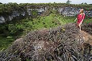 Model Overlooking Los Gemelos (The Twins)<br /> KT 013 Florencia Ceide<br /> Santa Cruz Highlands<br /> Galapagos<br /> Ecuador, South America