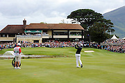 29-7-2011: Rory McIlroy plays his second shot to the 18th green in the Irish Open in Killarney on Friday..Picture by Don MacMonagle