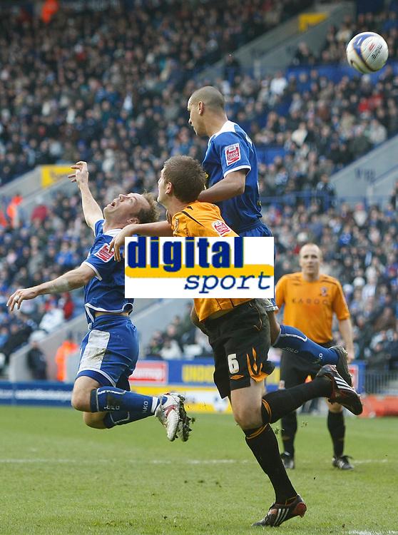 Photo: Steve Bond/Richard Lane Photography. <br />Leicester City v Hull City. Coca Cola Championship. 21/03/2008. Jamie Clapham (L), Michael Turner (C) and Patrick Kisnorbo (R) go for an aeriel ball