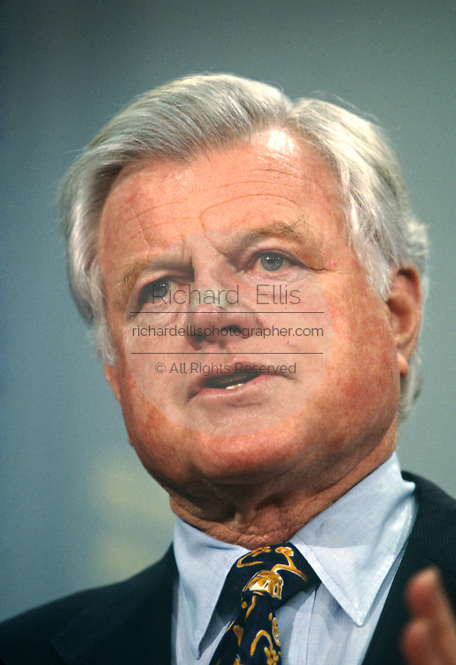 U.S. Senator Ted Kennedy with a bandage on his nose from skin cancer removal September 15, 1996 in Washington, DC.