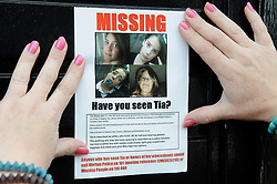 © Licensed to London News Pictures. 06/08/2012 .New Addington, Greater London. A missing poster for Tia Sharp in the town of New Addington. 12 year old Tia Sharp has been missing from the Lindens on The Fieldway Estate in New Addington since Friday last week. Photo credit : Grant Falvey/LNP