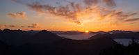 Sunset over Allgäuer Alpen from summit of Breitenberg, Algäu, Bavaria, Germany