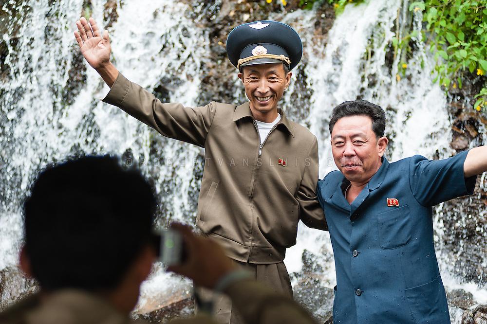 Tourists at Rimyongsu Falls, DPRK (North Korea)