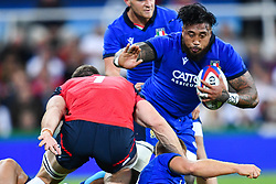 Jimmy Tuivaiti of Italy in action during todays match<br /> <br /> Photographer Craig Thomas/Replay Images<br /> <br /> Quilter International - England v Italy - Friday 6th September 2019 - St James' Park - Newcastle<br /> <br /> World Copyright © Replay Images . All rights reserved. info@replayimages.co.uk - http://replayimages.co.uk