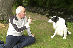Eddie Sander with his Dogs Jackson and Inka<br /><br />18 June 2004<br /><br />Copyright Paul David Drabble<br /> [#Beginning of Shooting Data Section]<br />Nikon D1 <br /> Focal Length: 24mm<br /> Optimize Image: <br /> Color Mode: <br /> Noise Reduction: <br /> 2004/06/18 10:20:49.5<br /> Exposure Mode: Programmed Auto<br /> White Balance: Auto<br /> Tone Comp: Normal<br /> JPEG (8-bit) Fine<br /> Metering Mode: Multi-Pattern<br /> AF Mode: AF-S<br /> Hue Adjustment: <br /> Image Size:  2000 x 1312<br /> 1/100 sec - F/5<br /> Flash Sync Mode: Front Curtain<br /> Saturation: <br /> Color<br /> Exposure Comp.: 0 EV<br /> Auto Flash Mode: External<br /> Sharpening: Normal<br /> Lens: 17-35mm F/2.8-4<br /> Sensitivity: ISO 200<br /> Image Comment: <br /> [#End of Shooting Data Section]