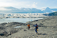 Hiking to the face of Bear Glacier, Kenai Fjords National Park, Alaska