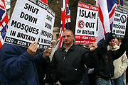 The British National Party protest outside of Finsbury Park Mosque in London.