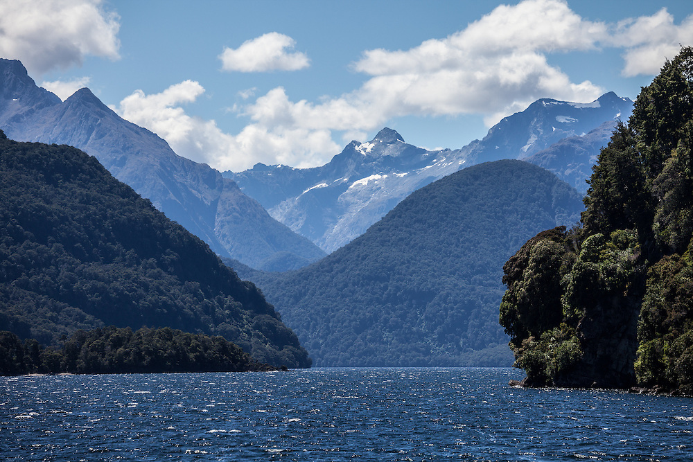 Scenic boat ride across Lake Te Anau with a destination of Glade House to begin the Milford Track on the South Island of New Zealand