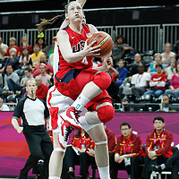 05 August 2012: USA Lindsay Whalen goes for the reverse layup during 114-66 Team USA victory over Team China, during the women's basketball preliminary, at the Basketball Arena, in London, Great Britain.
