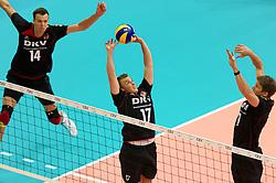 10.09.2011, O2 Arena, Prag, CZE, Europameisterschaft Volleyball Maenner, Vorrunde D, Deutschland (GER) vs Polen (POL), im Bild Robert Kromm (#14 GER / Verona ITA), Patrick Steuerwald (#17 GER / Warschau POL), Stefan Hübner/Huebner (#9 GER / Dueren GER) // during the 2011 CEV European Championship, Germany vs Poland at O2 Arena, Prague, 2011-09-10. EXPA Pictures © 2011, PhotoCredit: EXPA/ nph/  Kurth       ****** out of GER / CRO  / BEL ******