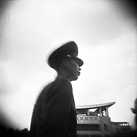 A military officer stands along the DMZ, the dividing line between North and South Korea.