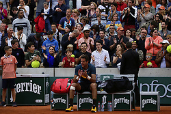 May 30, 2019 - Paris, France - Argentina's Juan Martin del Potro applauds as he celebrates after winning against Japan's Yoshihito Nishioka during their men's singles second round match on day five of The Roland Garros 2019 French Open tennis tournament in Paris on May 30, 2019. (Credit Image: © Ibrahim Ezzat/NurPhoto via ZUMA Press)