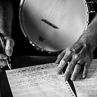 Phillip Roebuck works on a song in his studio, Oct. 2014.