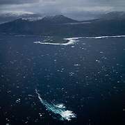 Three weeks aboard the Kong Harald. Hurtigruten, the Coastal Express. Aeral view near Alesund.