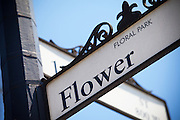 Flower Street Sign in Floral Park Santa Ana