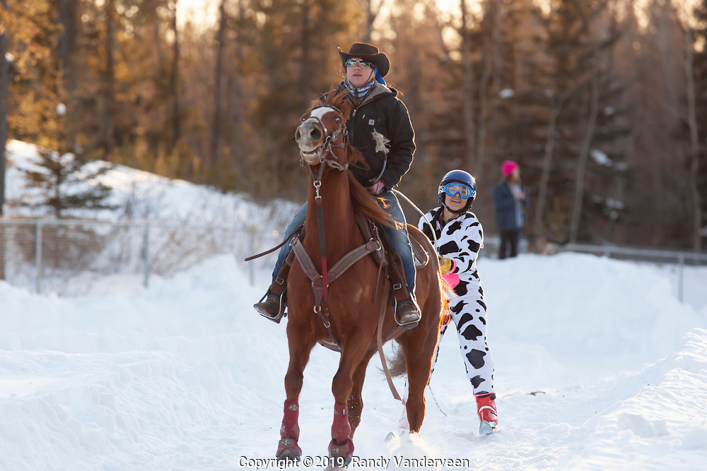 Photo Randy Vanderveen<br /> 2019-03-08<br /> Grande Prairie, Alberta<br /> Charity Langlois wears a unique costume as Molly ridden by Becky Gour pulls her at the Thunder in the Pines at Evergreen Park Friday evening. The inaugural skijoring event, which saw someone on skis or a snowboard pulled around by a horse or horse and rider on a closed course proved a popular event at the Foster's Peace Country Ag Classic for both spectators and participants.
