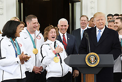2018 Snowborder gold medalist Red Gerard reacts during a celebration for Team USA following the 2018 Winter Olympics. on the North Portico of the White House in Washington, DC, on April 27, 2018. Photo by Olivier Douliery/Abaca Press