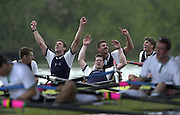 Putney, London   <br /> 2002 Varsity Boat Race. <br /> Photo Peter Spurrier<br /> 2002 Boat Race<br /> 30/03/02<br /> Oxford celebrates  - Cambridge collapses. – Oxford President throws his arms in the air American Lucas McGee falls back onto Dan Perkins.[Mandatory Credit:Peter SPURRIER/Intersport Images]