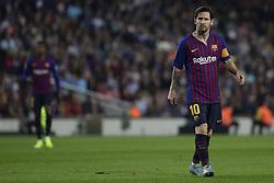 October 20, 2018 - Barcelona, Catalonia, Spain - October 20, 2018 - Camp Nou, Barcelona, Spain - LaLiga Santander- FC Barcelona v Sevilla CF; Lionel Messi of FC Barcelona observes the game before his injury. (Credit Image: © Marc Dominguez/ZUMA Wire)