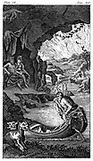 Hades, showing Charon the ferryman, Cerberus, three-headed dog guarding entrance, Pluto and Proserpine/Persephone  (centre left) and River Lethe. 18th century engraving.