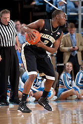 CHAPEL HILL, NC - FEBRUARY 15: Gary Clark #2 of the Wake Forest Demon Deacons dribbles the ball while playing the North Carolina Tar Heels at the Dean E. Smith Center in Chapel Hill, North Carolina. North Carolina won 64-78. (Photo by Peyton Williams/UNC/Getty Images) *** Local Caption *** Gary Clark