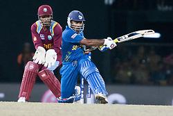 © Licensed to London News Pictures. 07/10/2012. Sri Lankan Mahela Jayawardene batting during the World T20 Cricket Mens Final match between Sri Lanka Vs West Indies at the R Premadasa International Cricket Stadium, Colombo. Photo credit : Asanka Brendon Ratnayake/LNP