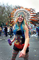 15 Feb 2015. New Orleans, Louisiana.<br /> Mardi Gras. An all woman marching krewe sets off as The Krewe of Thoth rolls Uptown.<br /> Photo; Charlie Varley/varleypix.com