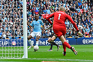 Goal - Raheem Sterling (7) of Manchester City scores a goal to give a 5-0 lead during the The FA Cup Final match between Manchester City and Watford at Wembley Stadium, London, England on 18 May 2019.