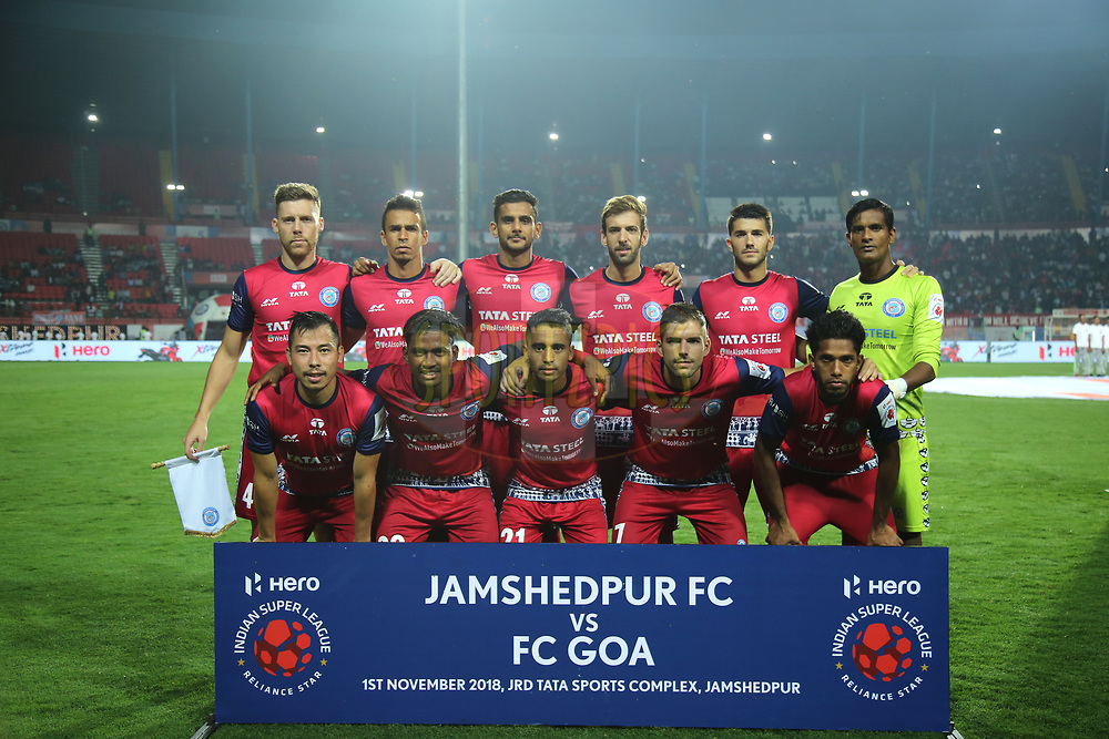Jamshedpur FC players during match 25 of the Hero Indian Super League 2018 ( ISL ) between Jamshedpur FC and FC Goa held at JRD Tata Sports Complex, Jamshedpur, India on the 1st November  2018<br /> <br /> Photo by: Deepak Malik /SPORTZPICS for ISL