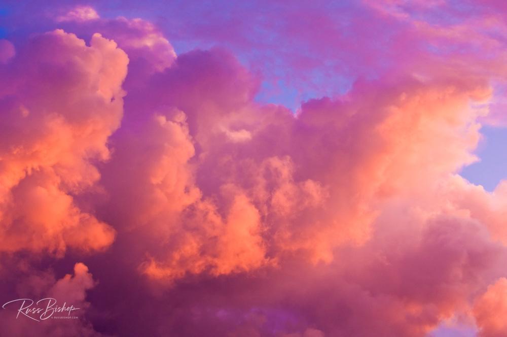 Evening light on clouds at sunset, Island of Kauai, Hawaii
