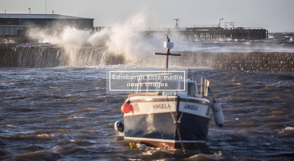 Stormy weather in East Lothian 11 January 2017; waves crash against the wall at Cockenzie Harbour.<br /> <br /> (c) Chris McCluskie   Edinburgh Elite media