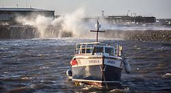 Stormy weather in East Lothian 11 January 2017; waves crash against the wall at Cockenzie Harbour.<br /> <br /> (c) Chris McCluskie | Edinburgh Elite media