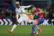 Andros Townsend of Crystal Palace (R) tussling with Didier Ndong of Sunderland (L). Premier League match, Crystal Palace v Sunderland at Selhurst Park in London on Saturday 4th February 2017. pic by Steffan Bowen, Andrew Orchard sports photography.