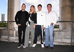 Robbie Williams, Ayda Field, Louis Tomlinson and Simon Cowell attending the X Factor photocall held at Somerset House, London. Photo credit should read: Doug Peters/EMPICS