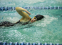 Gilford's Zoe Fullerton competes in the 100 Yard Freestyle at the NHIAA Division II State Championship swim meet at Swasey Pool/UNH on Saturday.  (Karen Bobotas/for the Laconia Daily Sun)