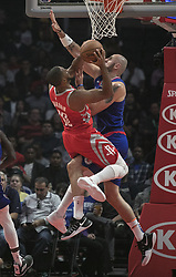 October 21, 2018 - Los Angeles, California, U.S - Marcin Gortat #13 of the Los Angeles Clippers blocks Eric Gordon #10 of the Houston Rockets during their NBA game on Sunday October 21, 2018 at the Staples Center in Los Angeles, California. (Credit Image: © Prensa Internacional via ZUMA Wire)