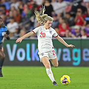England forward Lauren Hemp (20) is seen during the first match of the 2020 She Believes Cup soccer tournament at Exploria Stadium on 5 March 2020 in Orlando, Florida USA.