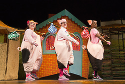 """© Licensed to London News Pictures. 05/08/2015. London, UK. L-R: Leanne Jones, Daniel Buckley and Taofique Folarin. West End premiere of the children's story """"The 3 Little Pigs"""" at the Palace Theatre starring Simon Webbe as Wolf, Alison Jiear as Mother, Leanne Jones as Bee, Taofique Folarin as Bar and Daniel Buckley as Q. The show runs from 5 August to 6 September 2015. Photo credit: Bettina Strenske/LNP"""