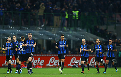 January 21, 2018 - Milan, Italy - Matias Vecino of Internazionale with the teammates after the goal of 1-1  during the Serie A match between FC Internazionale and AS Roma at Stadio Giuseppe Meazza on January 21, 2018 in Milan, Italy. (Credit Image: © Matteo Ciambelli/NurPhoto via ZUMA Press)