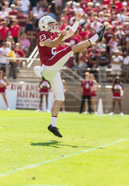 PALO ALTO, CA - OCTOBER 2:  Kicker Ryan Sanborn #23 of the Stanford Cardinal watches his punt during an NCAA Pac-12 college football game against the Oregon Ducks on October 2, 2021 at Stanford Stadium in Palo Alto, California.  (Photo by David Madison/Getty Images)