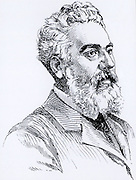 Alexander Graham Bell (1847-1922) Scottish-born American inventor. Patented his telephone in 1876.  Engraving from 'A Travers l'Electricite' by Georges Dary (Paris, c1906).