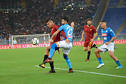 October 14, 2017 - Rome, Italy - Lorenzo Pellegrini,Elseid Hysaj during the Italian Serie A football match between A.S. Roma and S.S.C. Napoli at the Olympic Stadium in Rome, on october 14, 2017. (Credit Image: © Silvia Lor/Pacific Press via ZUMA Wire)