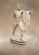 2nd century AD Roman marble sculpture of Harmodius  from the Tyrannicide group,  a Roman copy of an early classical period Geek original, inv 6009, Naples Museum of Archaeology, Italy ..<br /> <br /> If you prefer to buy from our ALAMY STOCK LIBRARY page at https://www.alamy.com/portfolio/paul-williams-funkystock/greco-roman-sculptures.html . Type -    Naples    - into LOWER SEARCH WITHIN GALLERY box - Refine search by adding a subject, place, background colour, museum etc.<br /> <br /> Visit our ROMAN WORLD PHOTO COLLECTIONS for more photos to download or buy as wall art prints https://funkystock.photoshelter.com/gallery-collection/The-Romans-Art-Artefacts-Antiquities-Historic-Sites-Pictures-Images/C0000r2uLJJo9_s0