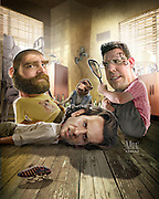 Hair of the Dog . . . or Monkey?  Caricature: Bradley Cooper, Zach Galifianakis, and Ed Helms wake up in a tight spot with strange beast.  Originally created for Penthouse Full Frontal Entertainment Review.
